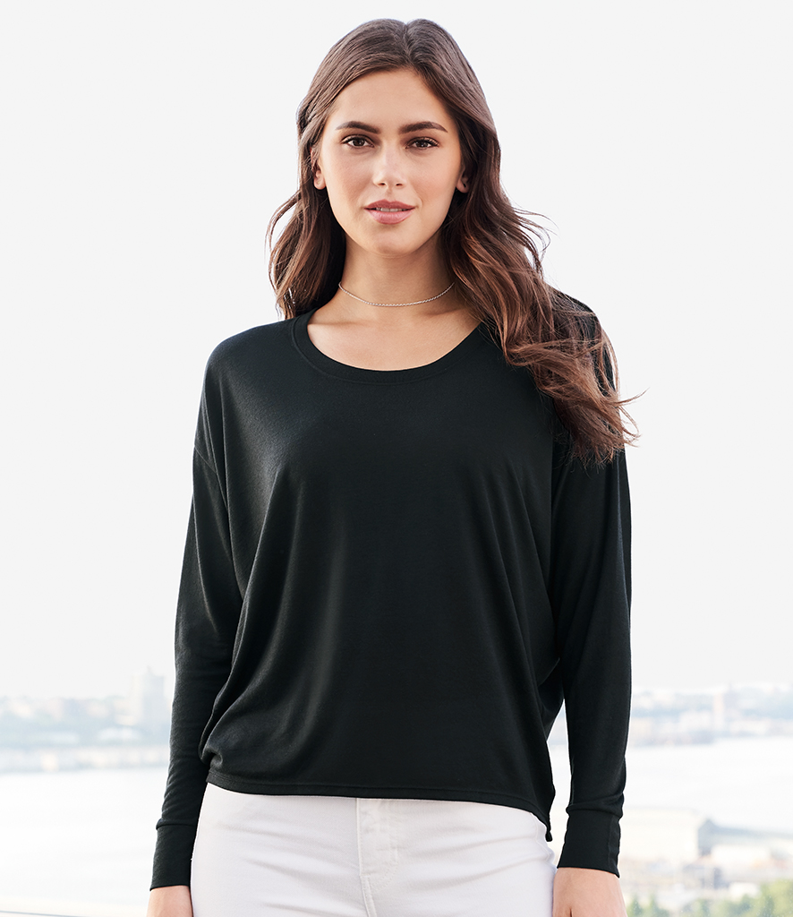 Fruit of the Loom Lady Fit Value Long Sleeve T-Shirt Tee Black White SS708